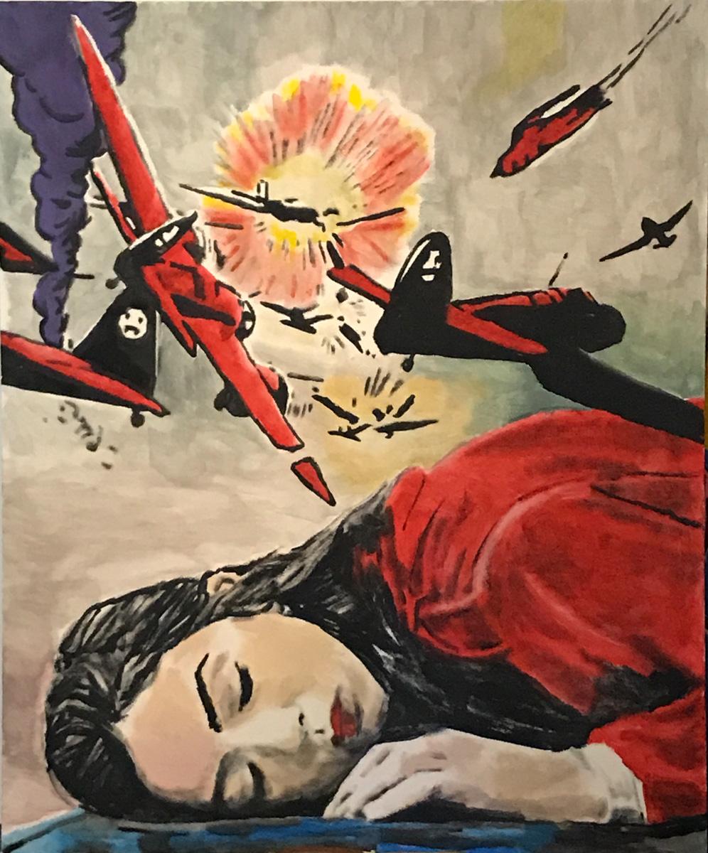 ©Andrea Saltini, La moglie dell'aviatore, tecnica mista su tela, 120x100 cm, 2018